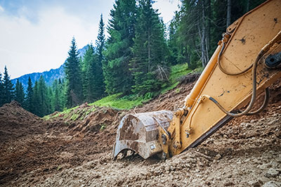 excavator diggin with trees and mountain